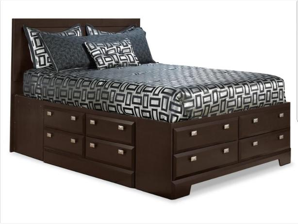 Platform queen bed with 12 storage drawers