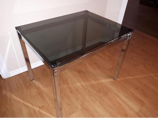 CHROME STAND WITH SMOKED GLASS TOP