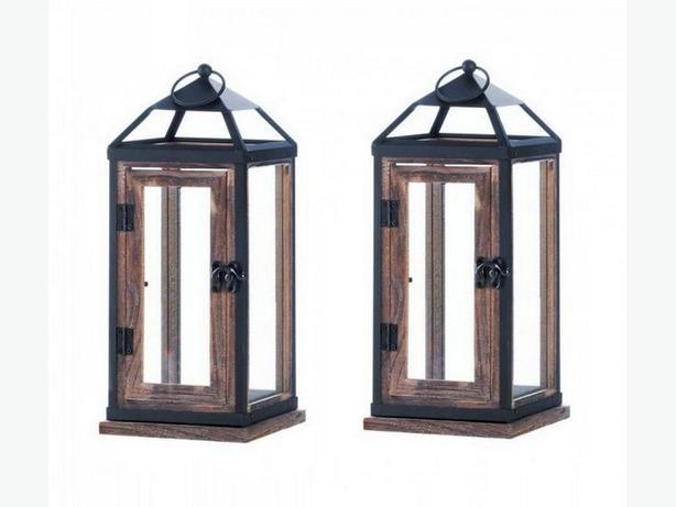 Cottage Chic Rustic Wood Candle Lantern Metal Trim Hinged Door Set of 2