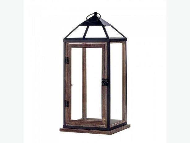 "Large 18"" Rustic Wood Candle Lantern Metal Trim Hinged Door Set of 2"