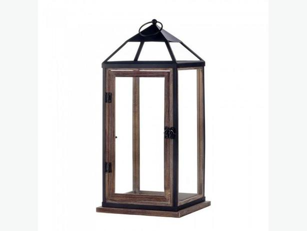 "Large 18"" Rustic Wood Candle Lantern Metal Trim Hinged Door Set of 2"