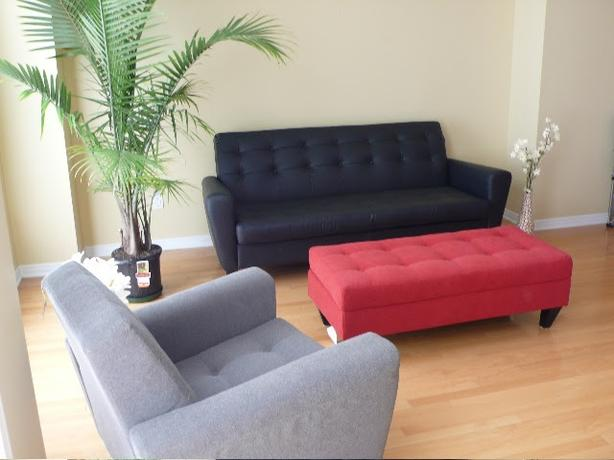 Set of 2 - Black Leather couch and Grey chair