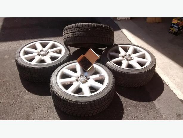 Four Mini Cooper S Blizzak winter tires on original factory rims