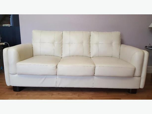 Set of 3 - white leather sofas