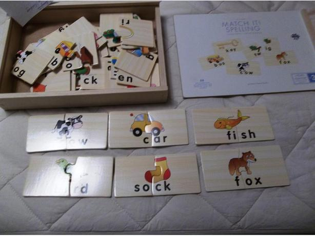 Pottery barn kids lets play match it rhyme animals wood puzzle