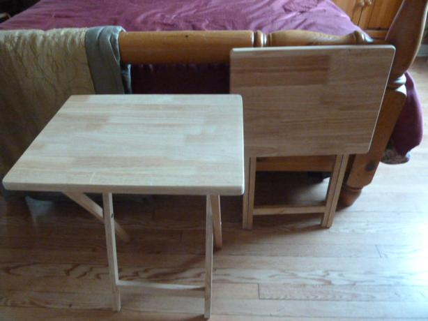 2 Solid Wood Folding Snack Tables in Beechwood