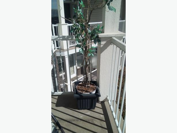 Artificial plant, basket, 2 planters, pots