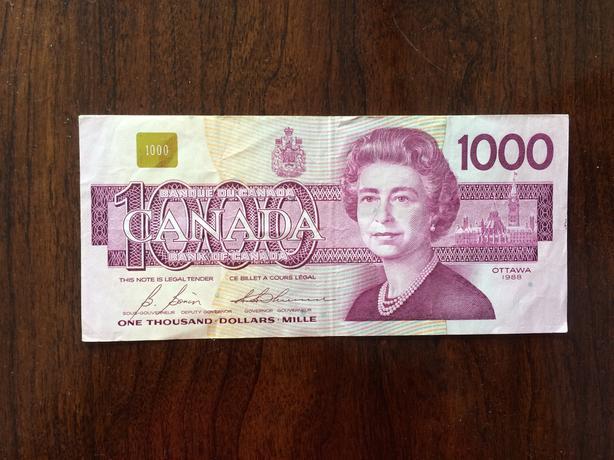 Canadian $1,000 Bill