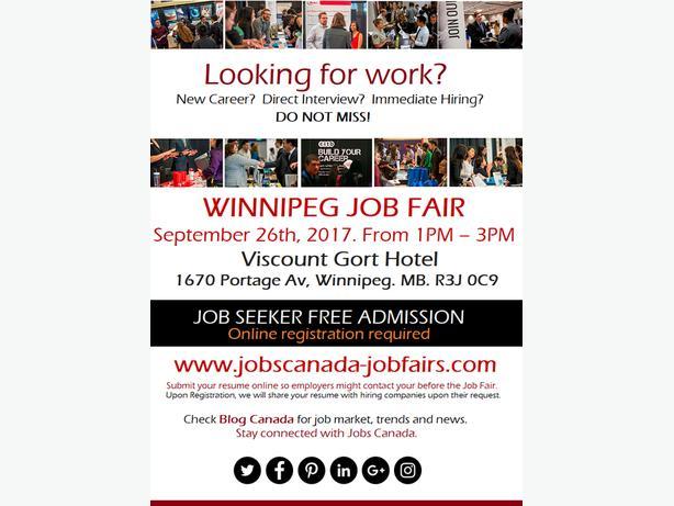 FREE:  Winnipeg Job Fair – Tuesday, September 26th, 2017