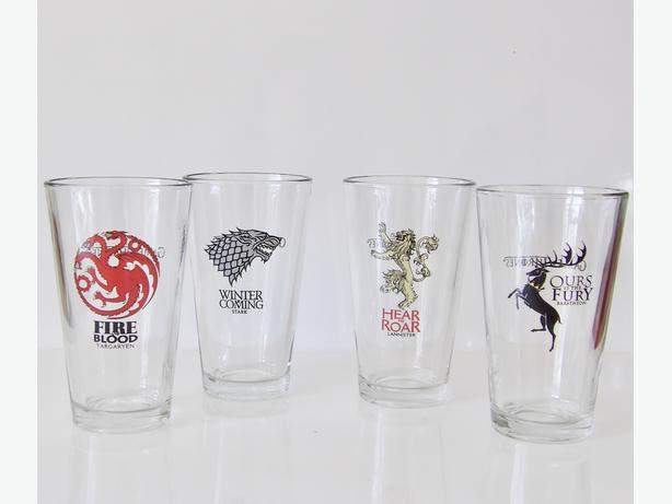Set of 4 Official HBO Dark Horse Deluxe Game of Thrones Pint Glasses