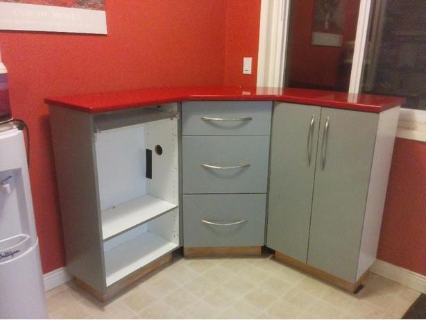 reception desk or corner shelving unit
