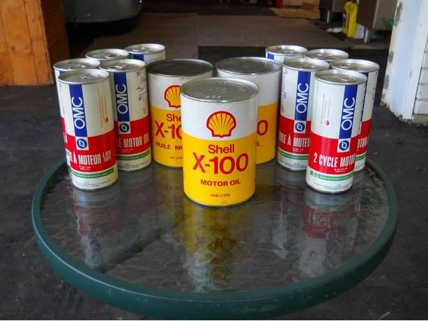 Vintage Shell X-100 Paper Motor Oil Cans