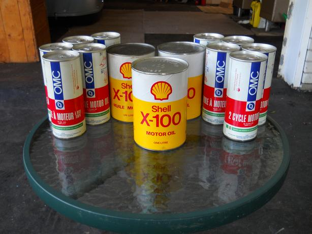 vintage Shell X-00 Paper Motor oil Cans
