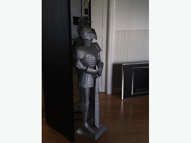 Tin knight statue