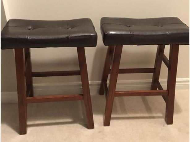 Wood and leather stools