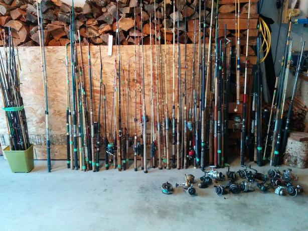 Lots of Fishing Poles and Reels