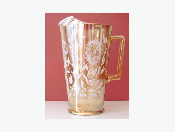 """1940's Jeannette """"Cosmos Marigold"""" Carnival Glass Large Drink Pitcher"""