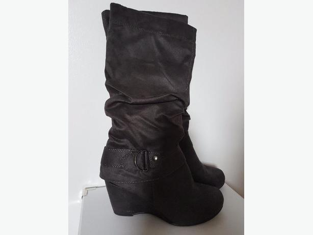 Suede Grey Wedge Boots - Size 6