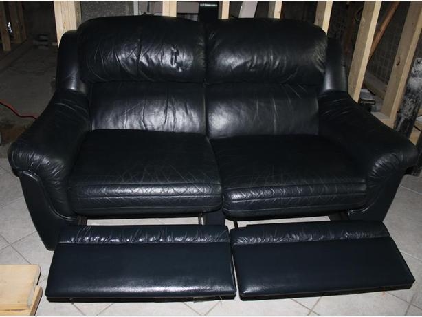 Sklar Pepplar full leather reclining loveseat-navy blue