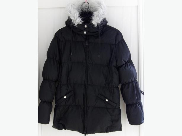 Girl's Black Down-Filled Parka Winter Parka Coat with Hood