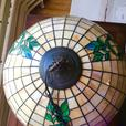 Vintage artisan crafted Tiffany reproduction stained glass hanging lamp