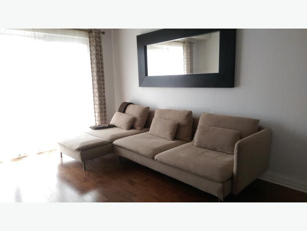SUPER Comfortable Sofa and Chaise (Beige) + Mirror  - Moving Sale!