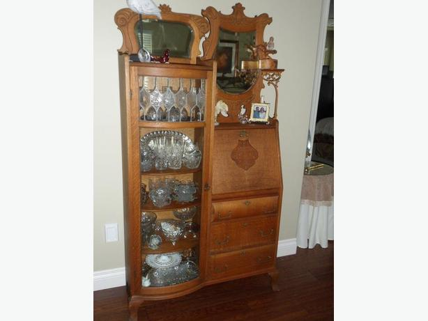 Antique Oak Canadiana Bookcase Secretary
