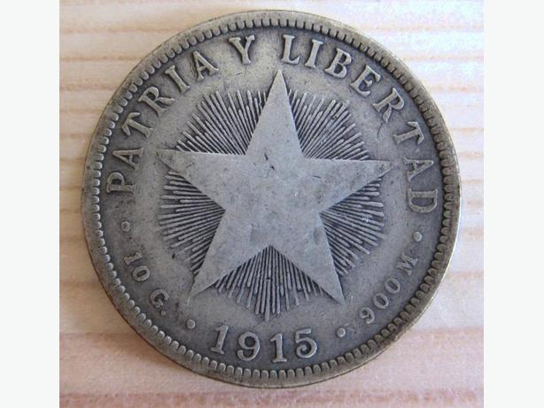 CUBA 1915 40 CENTAVOS STERLING SILVER 0.900 CUBAN COIN