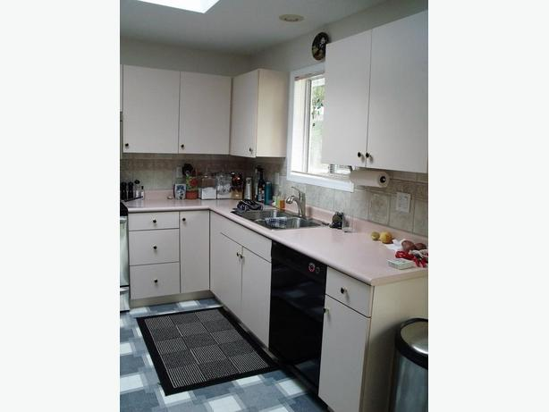 Kitchen cupboards, counter top and sink