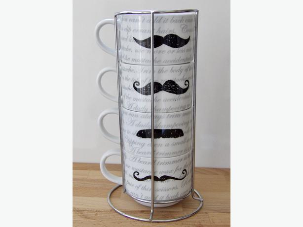 Set of 4 Stacking Mustache Mugs & Holder Pier 1 Imports