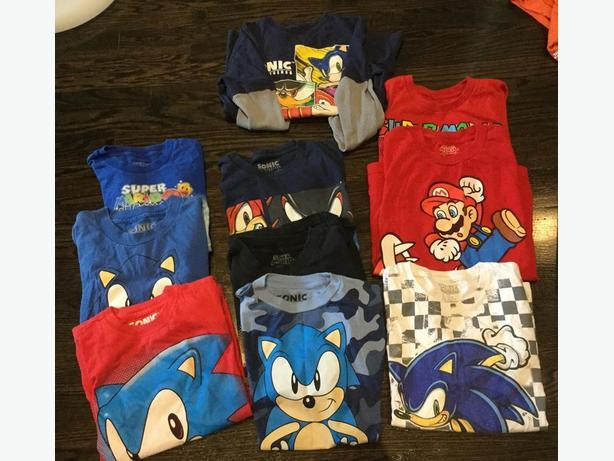 Various Size  Sonic The Hedgehog abd Mario Shirts