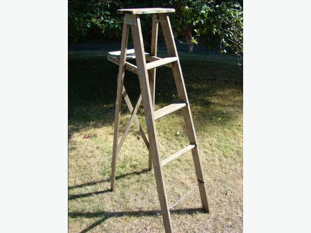 Antique Five Foot Wooden Ladder