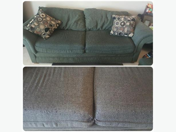 Couch, chair and 3 three throw pillows