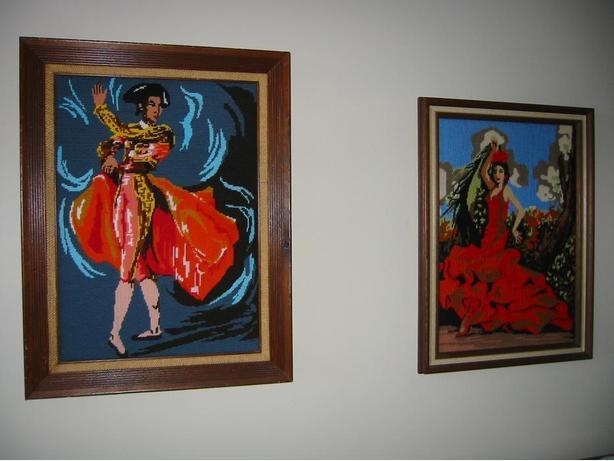 TWO VINTAGE NEEDLEPOINT PAINTINGS & FRAMES: SPANISH DANCER & BULLFIGHTER MATADOR