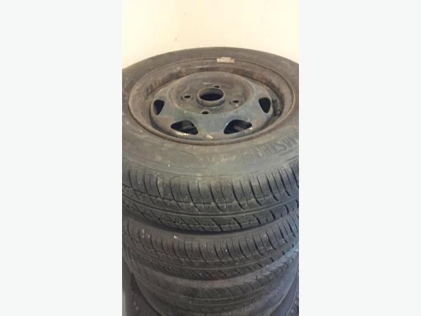 "13"" 4x114.3 Steelies w/ 155/80r13 Motomaster Tires"