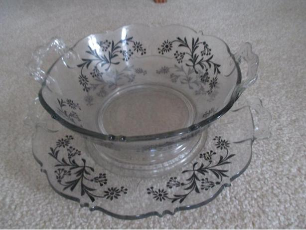 """CIRCA 1930 """"DEPRESSION OVERLAY"""" SALAD OR FRUIT BOWL WITH UNDER PLATE"""