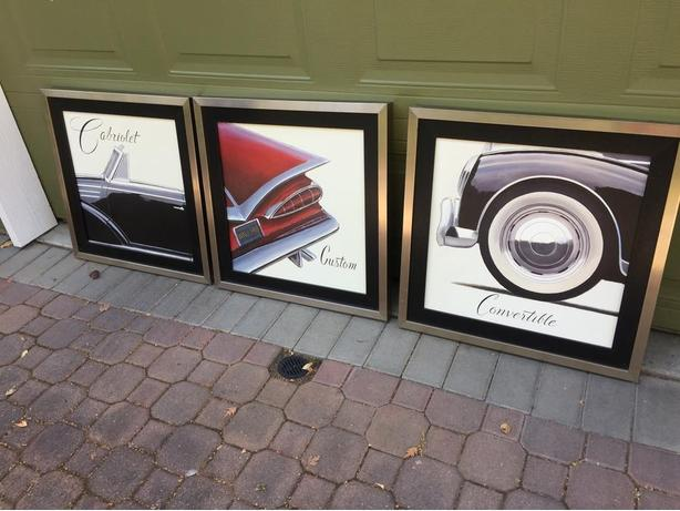 FRAMED PRINTS OF VINTAGE AUTOMOBILES