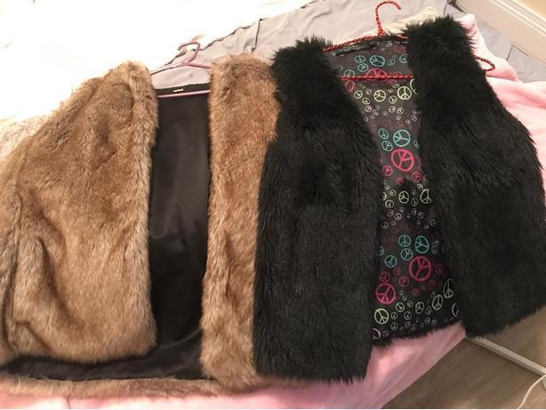Black and brown faux fur vests