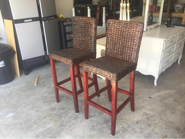 2 high quality wicker and hardwood bar height chairs