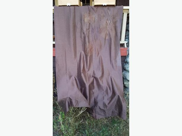 2 brown curtain panels