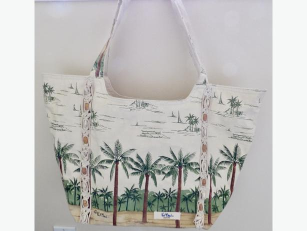 Palm Tree Canvas Tote Bag with Seashell Accents
