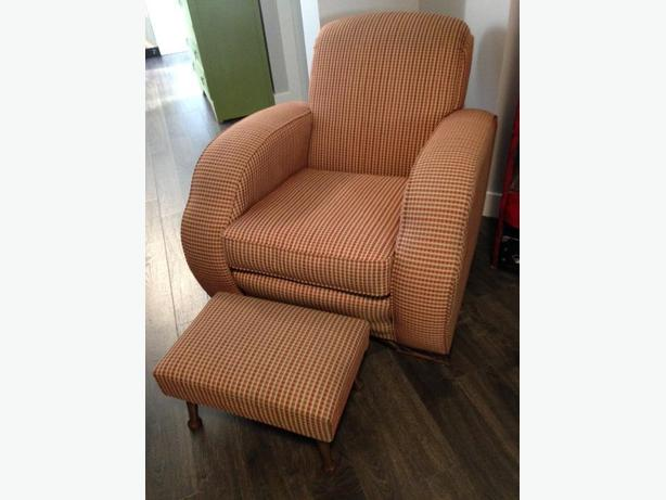 vintage living room chair and footstool