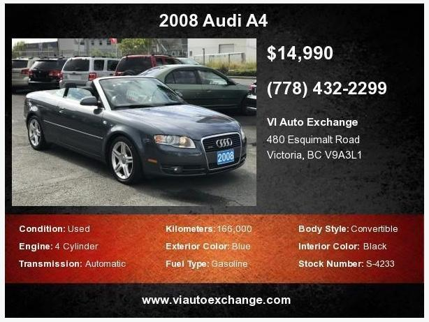 2008 Audi A4 2.0t Convertible Cabriolet Quattro With Tiptronic | SALE PRICE!!!