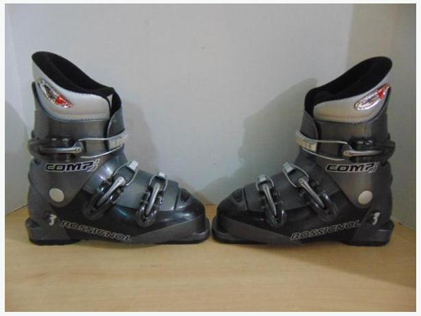 Ski Boots Mondo Size 22.5 Child Size 4 Rossignol Grey