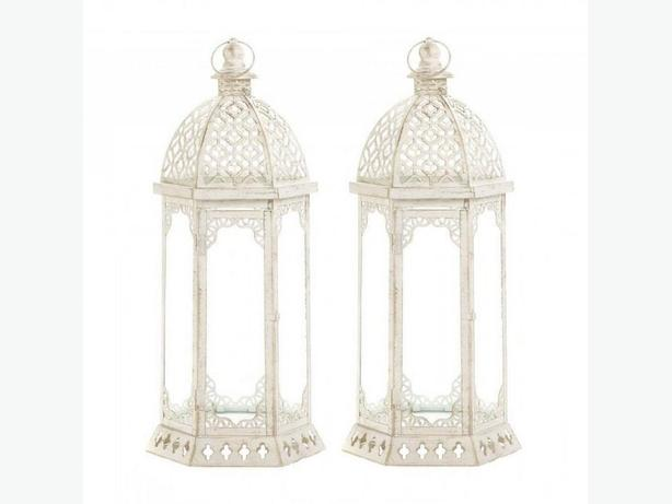 Large Distressed White Candle Lantern Vintage-Look Set of 2 Brand New