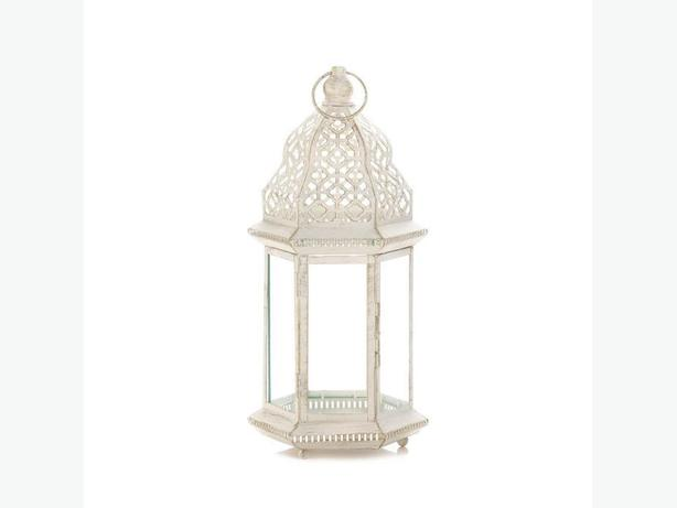 Tall distressed White Candle Lantern Vintage-Look 3 Lot Brand New