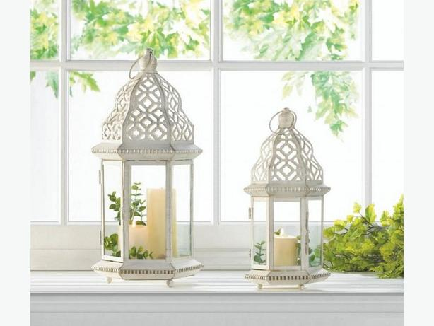 Distressed White Candle Lantern Lg&Sm 4PC Mixed Lot Brand New