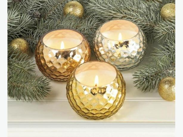 Dimpled Container Scented Candle Gold Silver Copper 6 Lot Choice