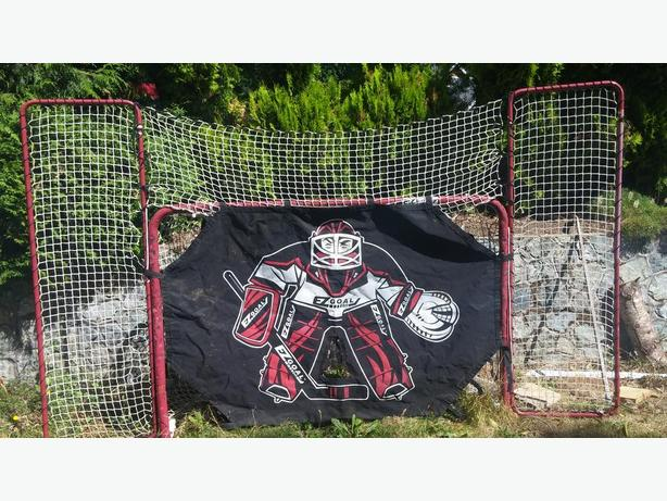 costco hockey net with goalie canvas with 20 pucks cobble hill cowichan