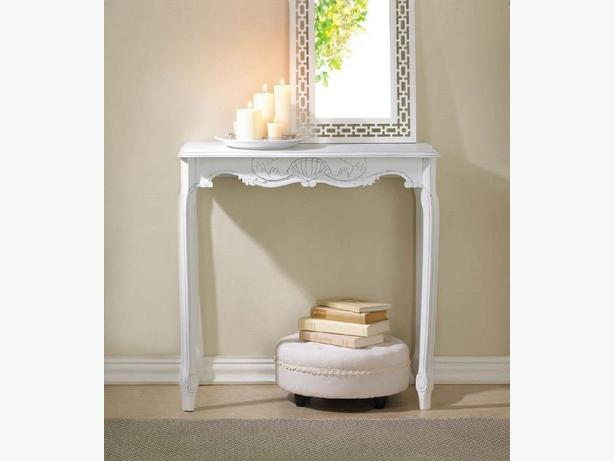 Elegant Hall Entry Table with Scalloped Detailing Brand New White